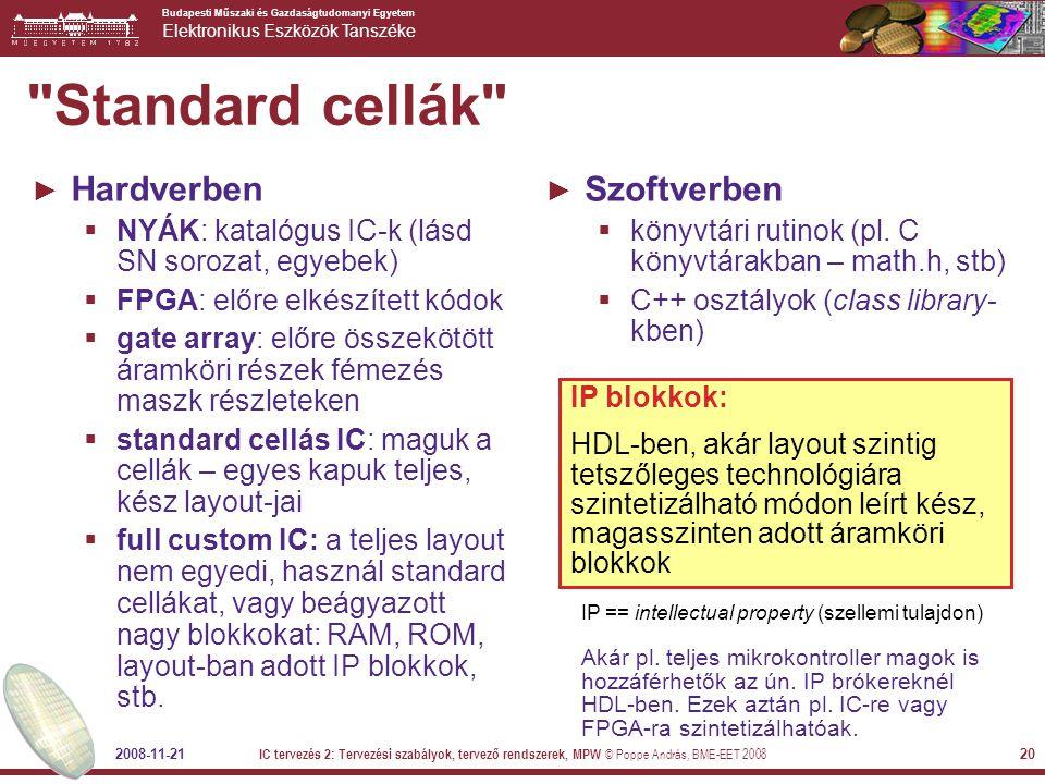 Standard cellák Hardverben Szoftverben