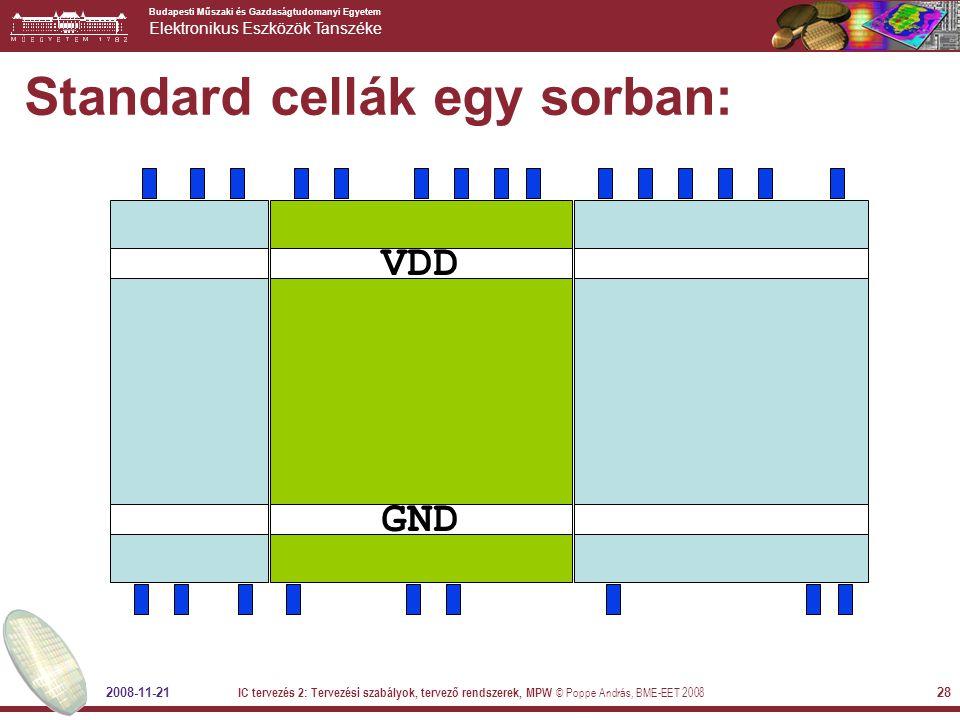 Standard cellák egy sorban: