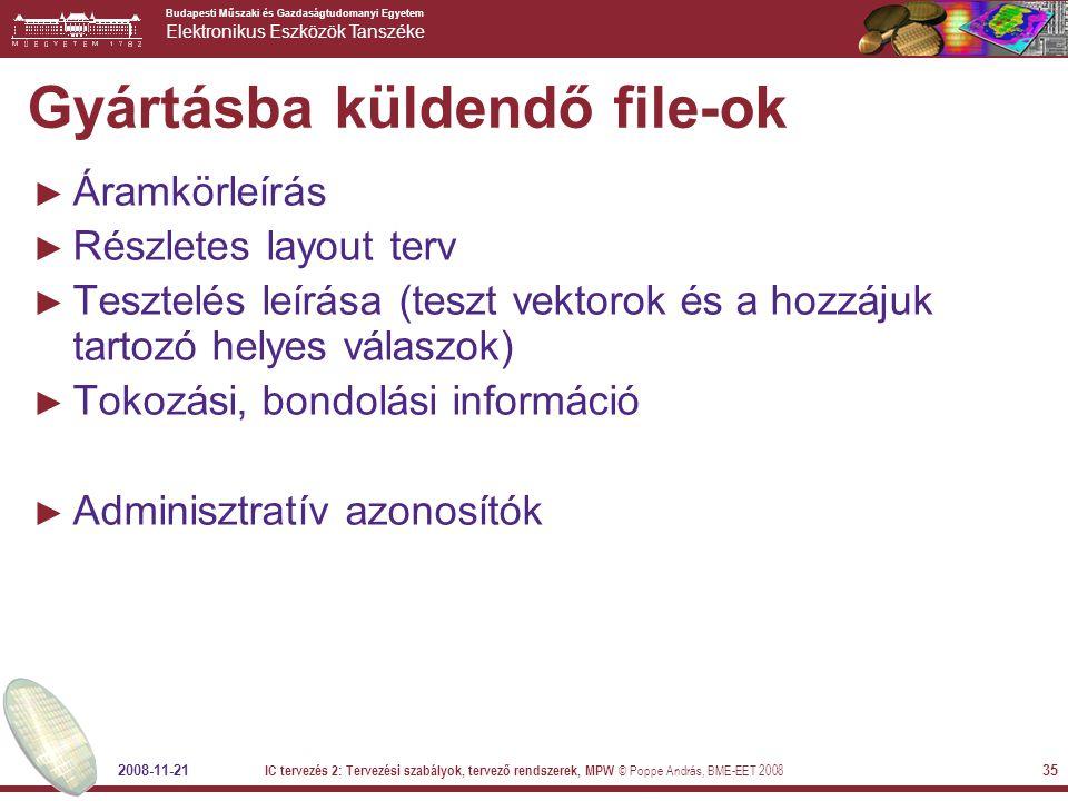 Gyártásba küldendő file-ok