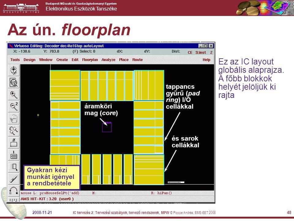 Az ún. floorplan Ez az IC layout globális alaprajza. A főbb blokkok helyét jelöljük ki rajta. tappancs gyűrű (pad ring) I/O cellákkal.