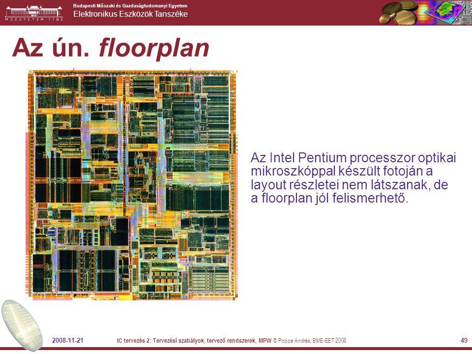 Az ún. floorplan Az Intel Pentium processzor optikai mikroszkóppal készült fotoján a layout részletei nem látszanak, de a floorplan jól felismerhető.