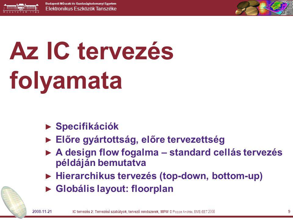 Az IC tervezés folyamata
