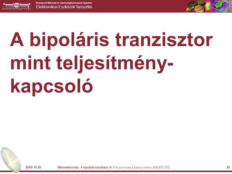 A bipoláris tranzisztor mint teljesítmény-kapcsoló