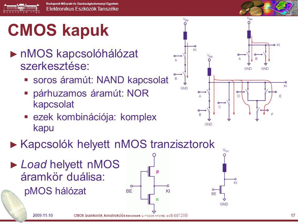 CMOS kapuk nMOS kapcsolóhálózat szerkesztése: