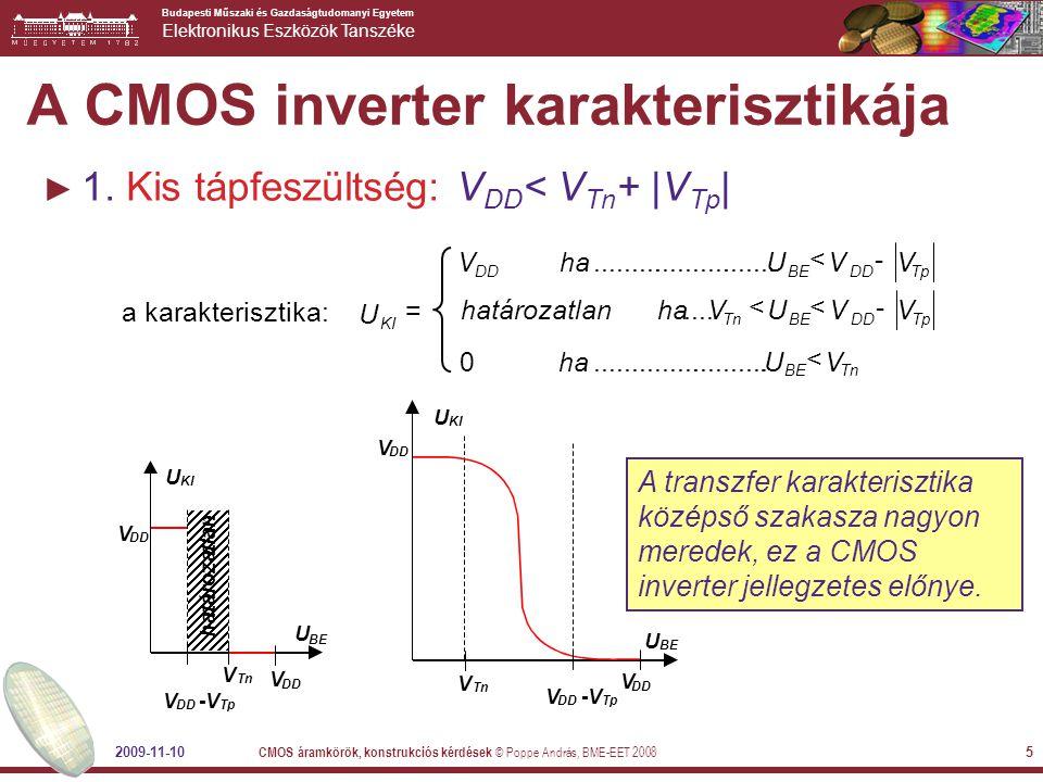A CMOS inverter karakterisztikája