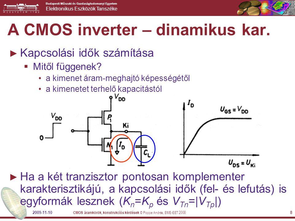 A CMOS inverter – dinamikus kar.