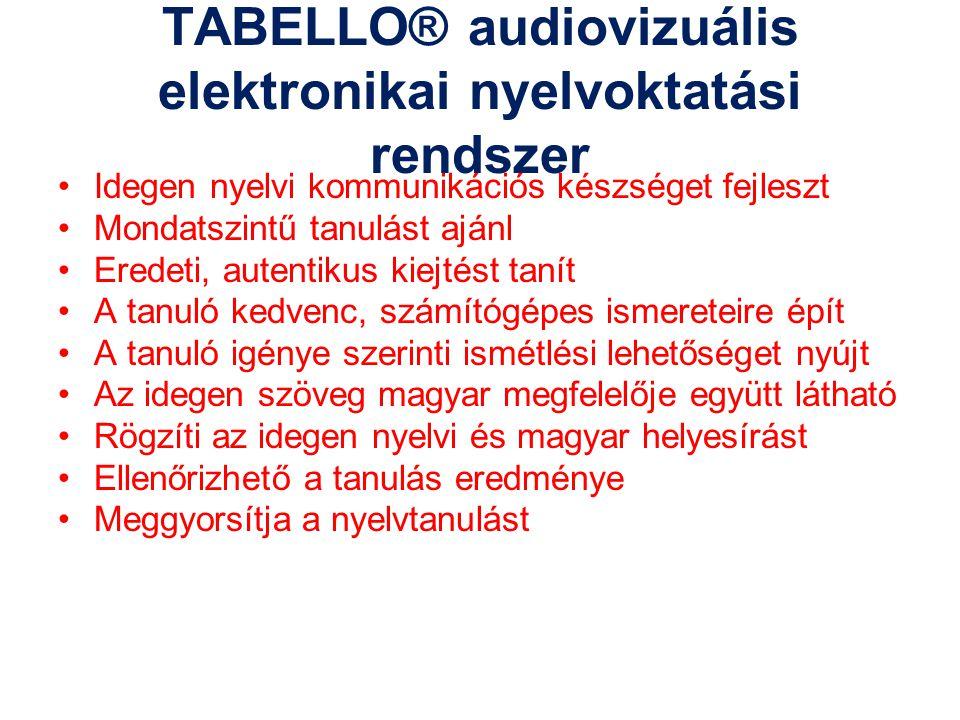 TABELLO® audiovizuális elektronikai nyelvoktatási rendszer