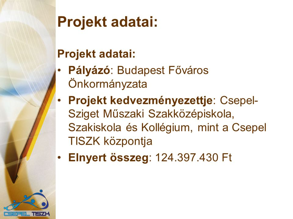 Projekt adatai: Projekt adatai: