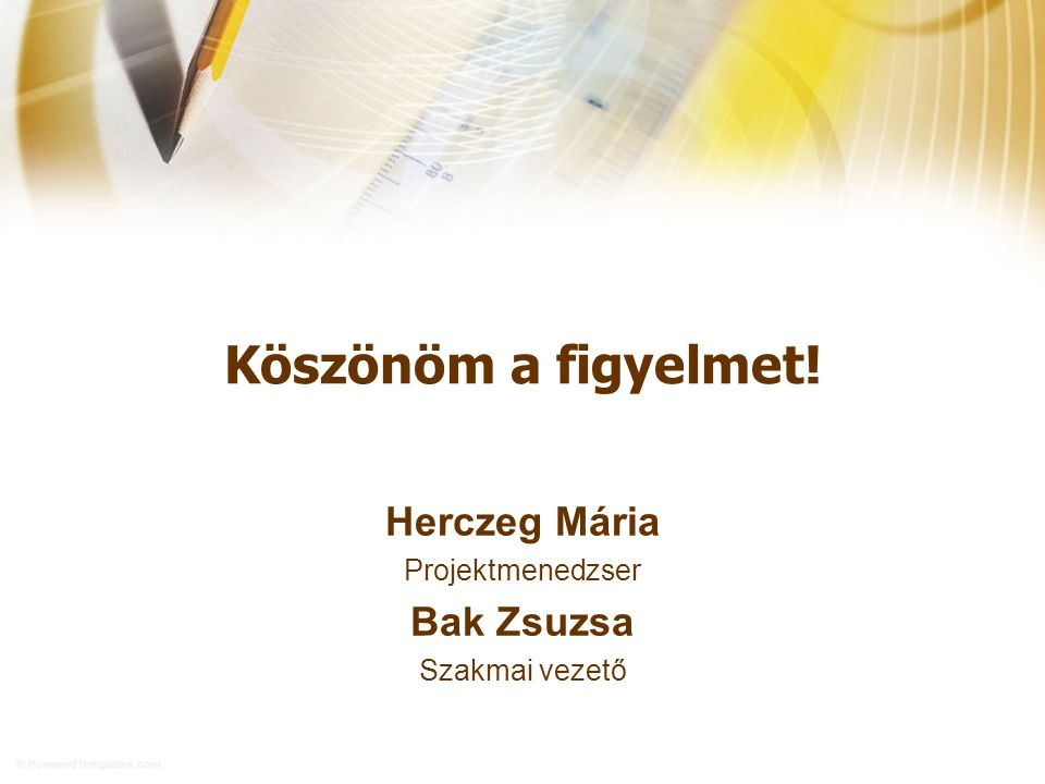 Köszönöm a figyelmet! Herczeg Mária Bak Zsuzsa Projektmenedzser
