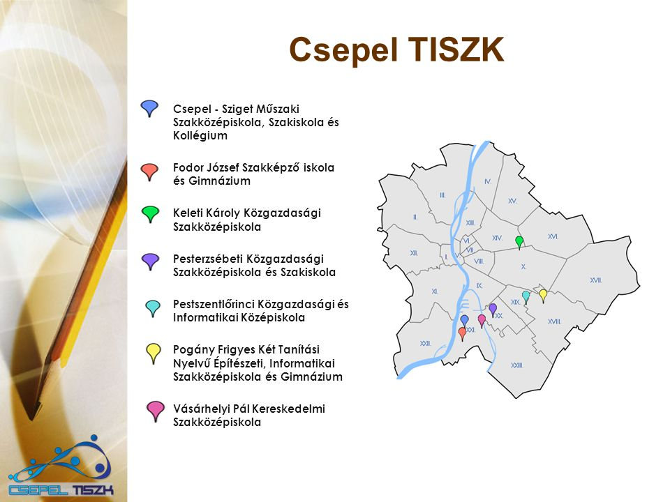 Csepel TISZK Csepel - Sziget Műszaki Szakközépiskola, Szakiskola és Kollégium. Fodor József Szakképző iskola és Gimnázium.