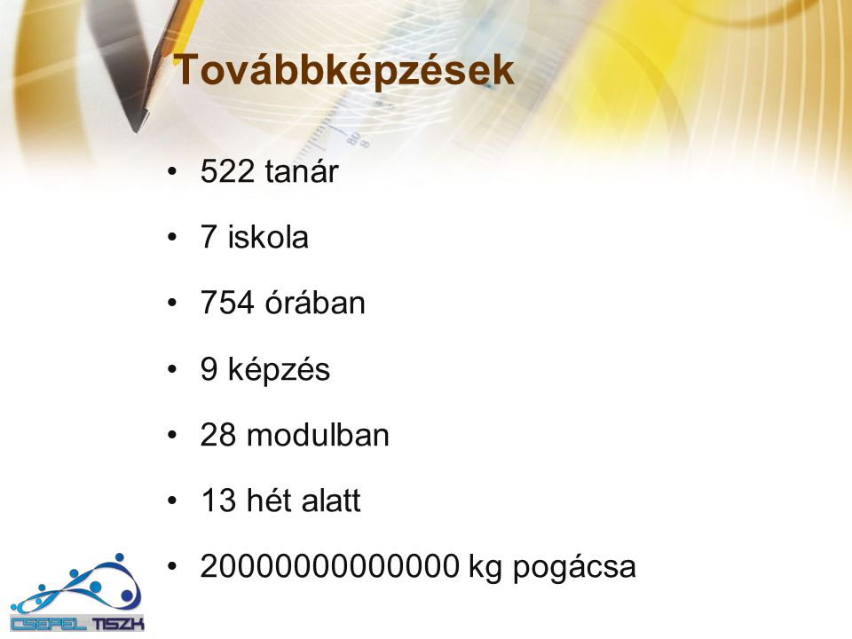 Továbbképzések 522 tanár 7 iskola 754 órában 9 képzés 28 modulban