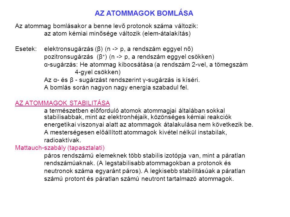 AZ ATOMMAGOK BOMLÁSA Az atommag bomlásakor a benne levő protonok száma változik: az atom kémiai minősége változik (elem-átalakítás)