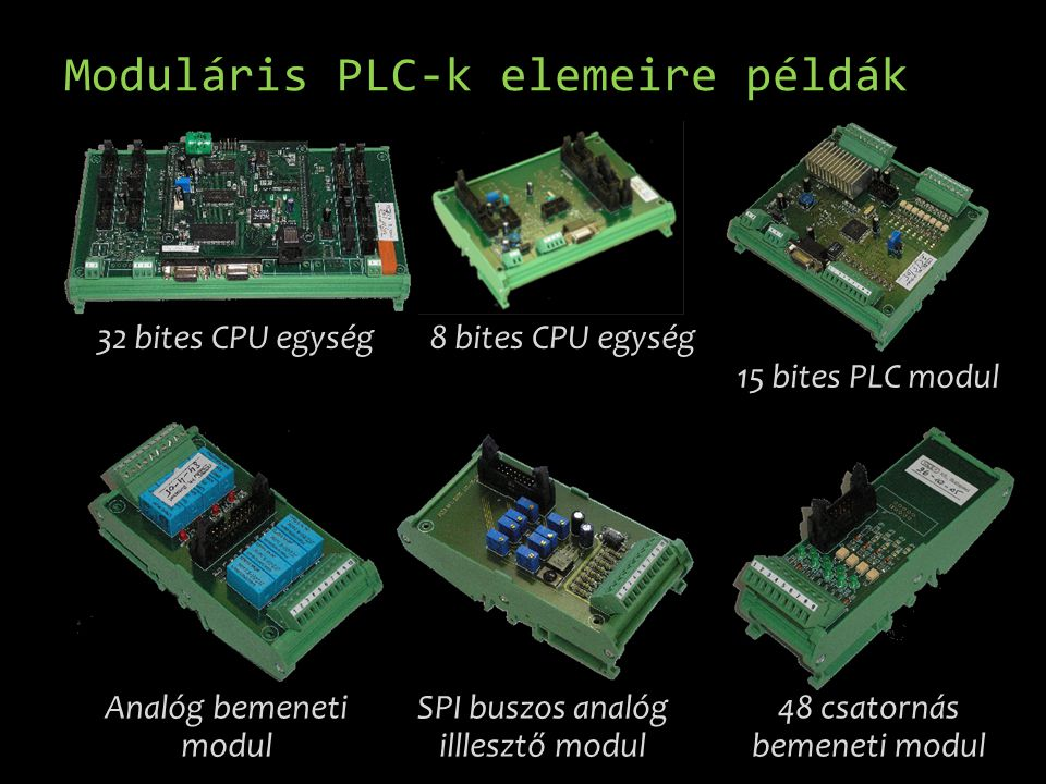 Moduláris PLC-k elemeire példák