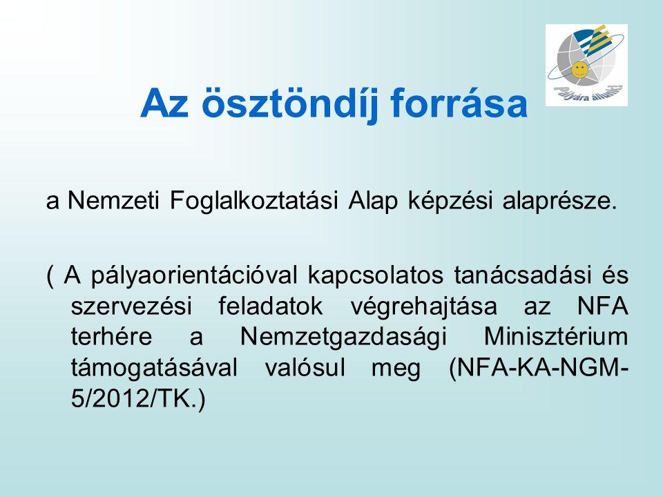Az ösztöndíj forrása a Nemzeti Foglalkoztatási Alap képzési alaprésze.