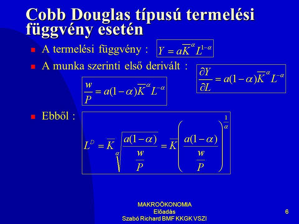 Cobb Douglas típusú termelési függvény esetén