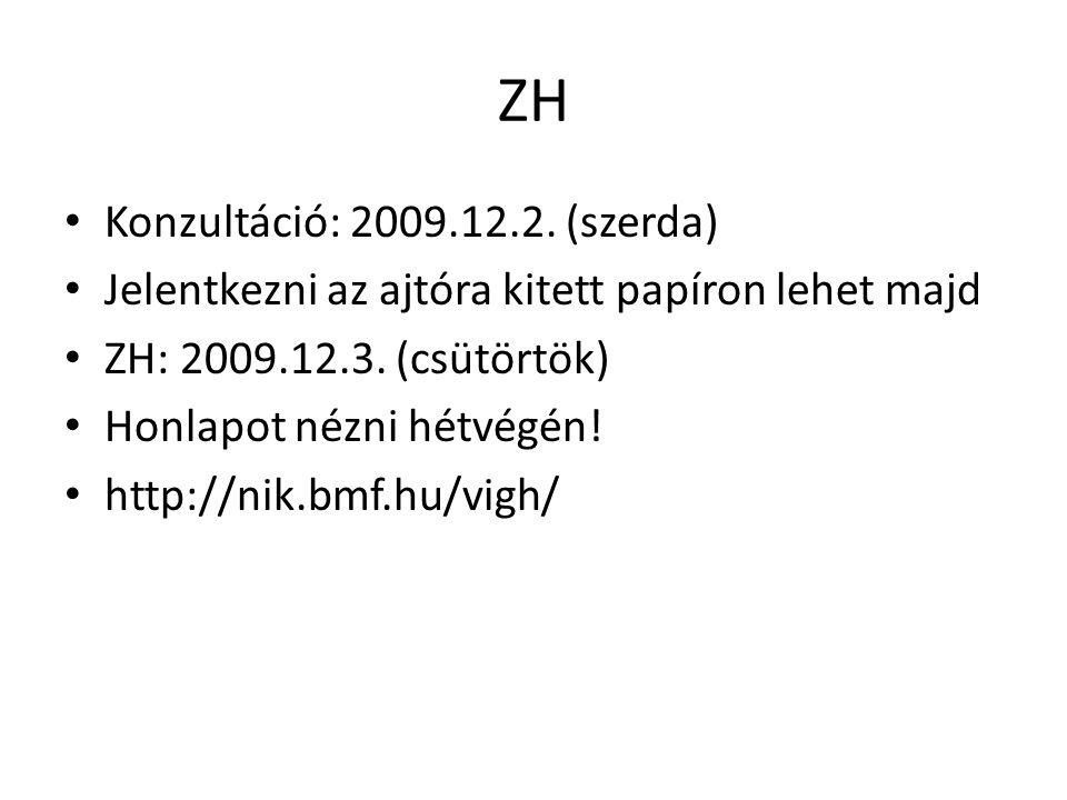 ZH Konzultáció: 2009.12.2. (szerda)