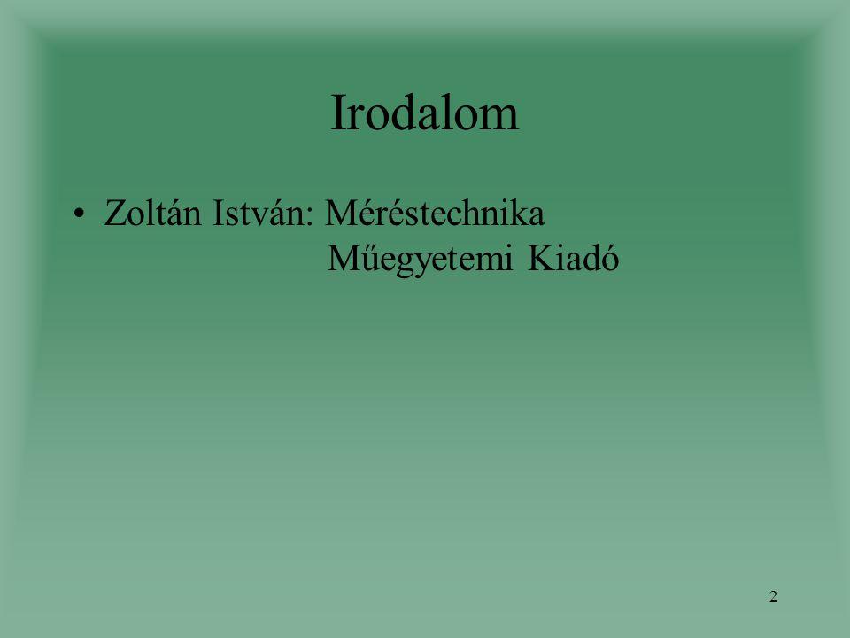 Irodalom Zoltán István: Méréstechnika Műegyetemi Kiadó