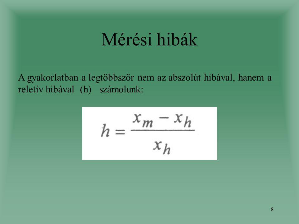 Mérési hibák A gyakorlatban a legtöbbször nem az abszolút hibával, hanem a reletív hibával (h) számolunk: