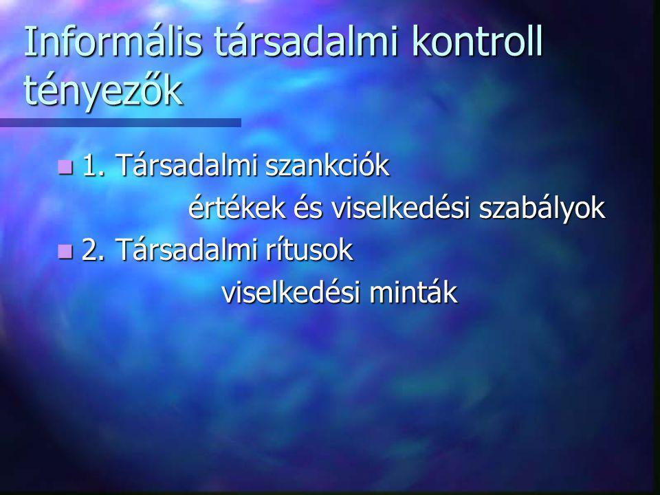 Informális társadalmi kontroll tényezők