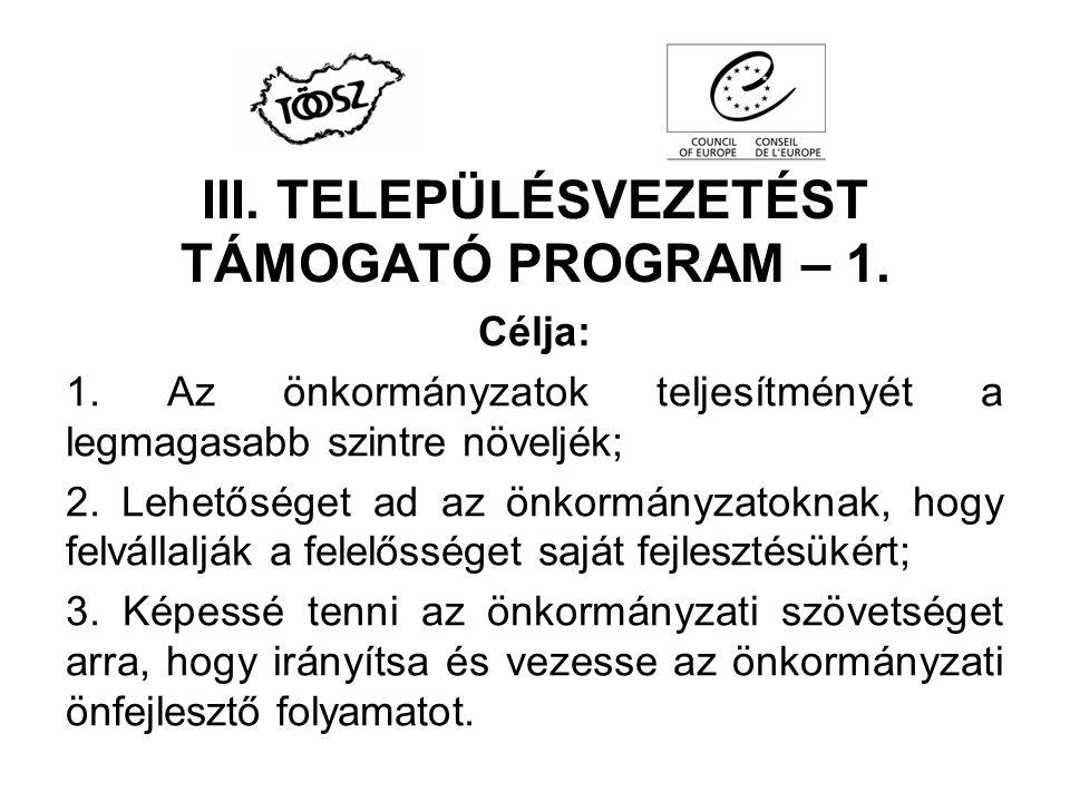 III. TELEPÜLÉSVEZETÉST TÁMOGATÓ PROGRAM – 1.