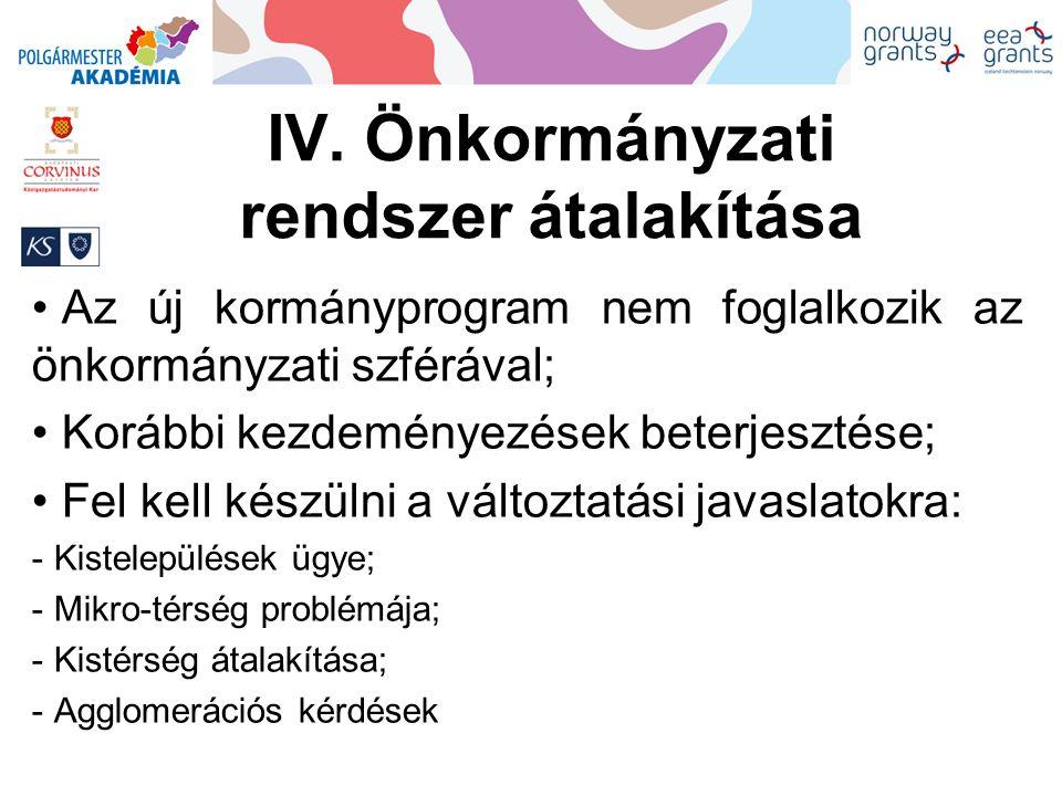 IV. Önkormányzati rendszer átalakítása