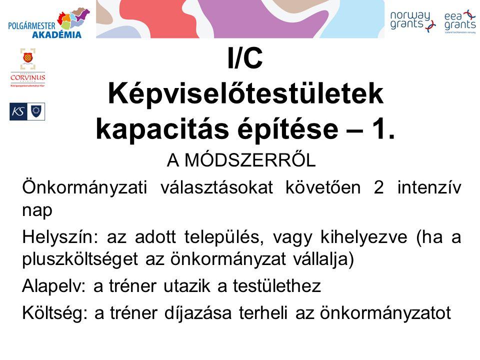 I/C Képviselőtestületek kapacitás építése – 1.