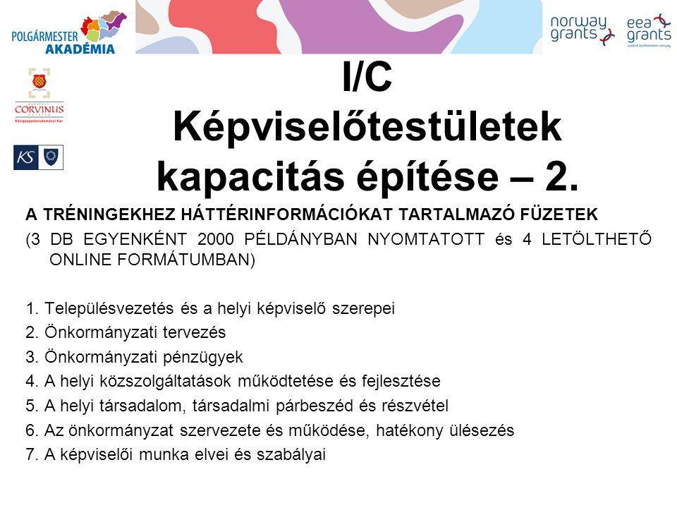 I/C Képviselőtestületek kapacitás építése – 2.