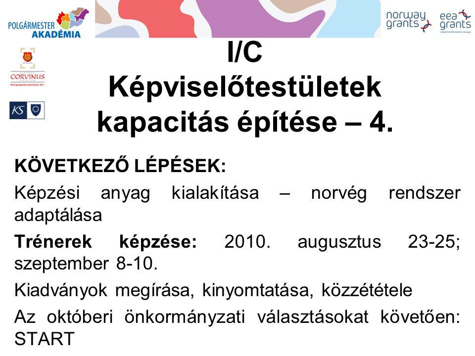 I/C Képviselőtestületek kapacitás építése – 4.