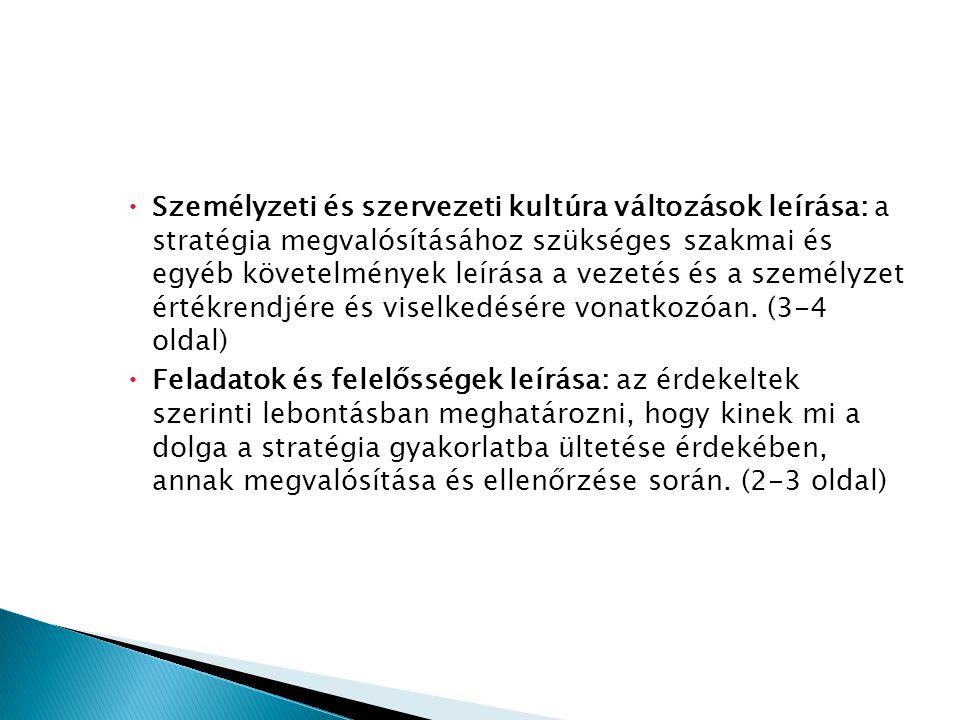 Személyzeti és szervezeti kultúra változások leírása: a stratégia megvalósításához szükséges szakmai és egyéb követelmények leírása a vezetés és a személyzet értékrendjére és viselkedésére vonatkozóan. (3-4 oldal)