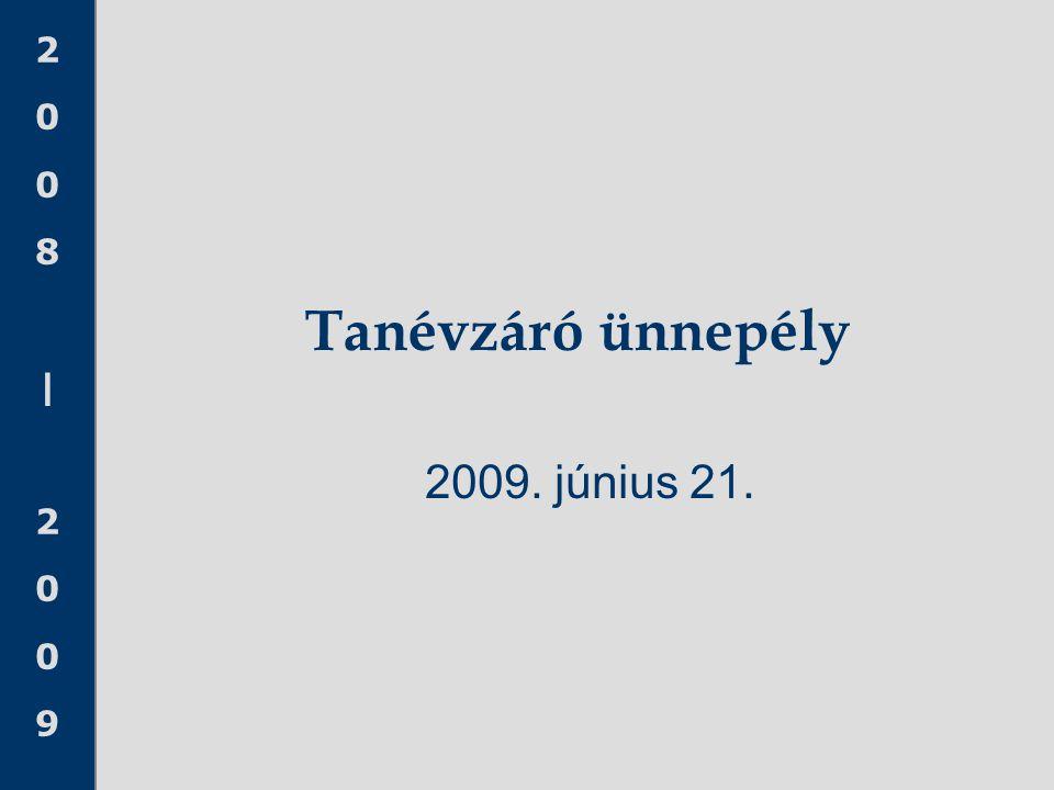 Tanévzáró ünnepély 2009. június 21. TISZTELT VENDÉGEK