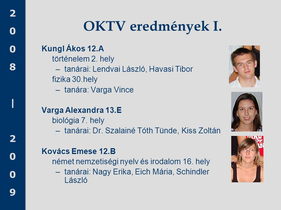 OKTV eredmények I. Kungl Ákos 12.A történelem 2. hely