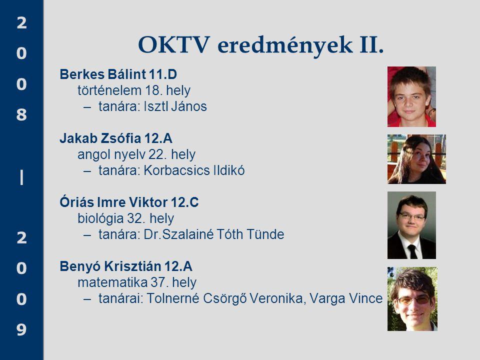 OKTV eredmények II. Berkes Bálint 11.D történelem 18. hely
