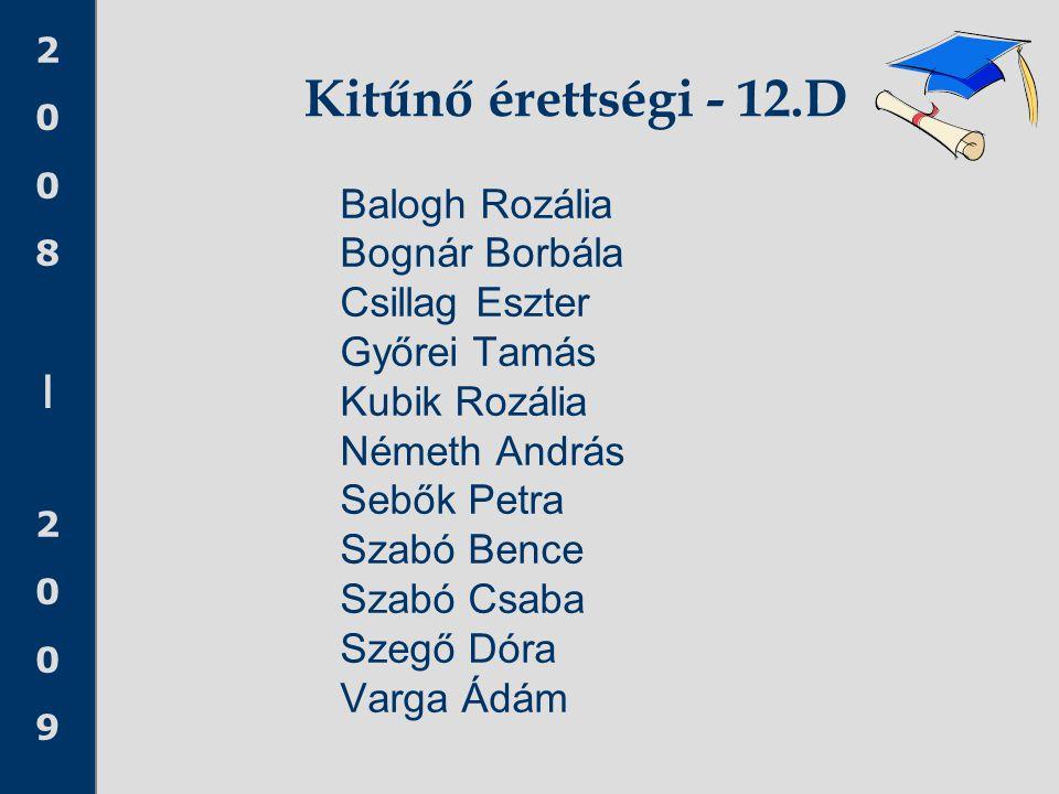 Kitűnő érettségi - 12.D Balogh Rozália Bognár Borbála Csillag Eszter