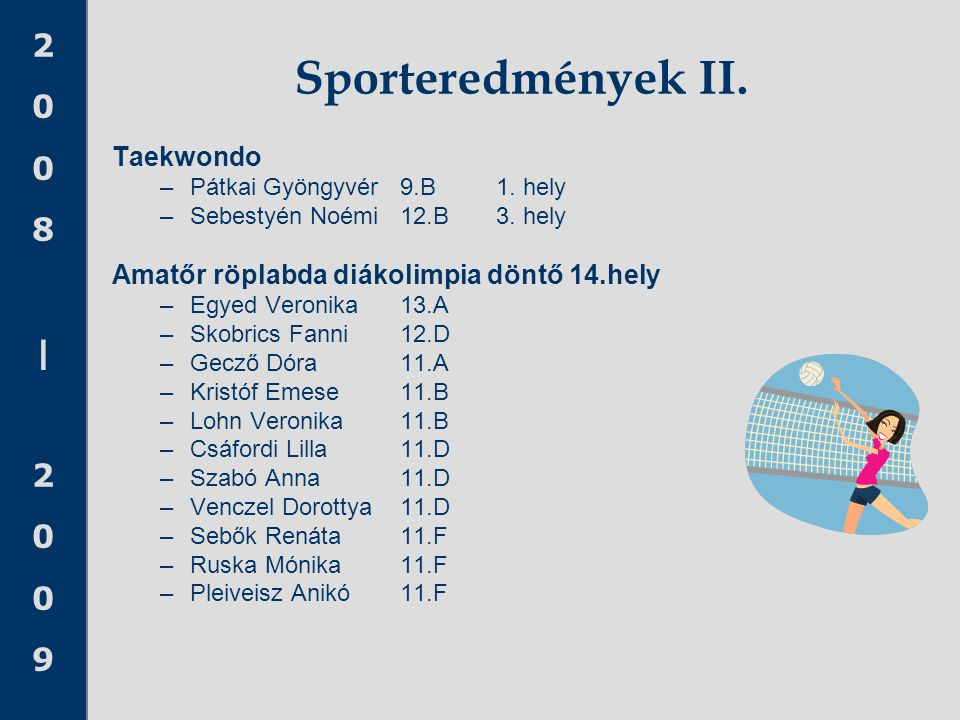 Sporteredmények II. Taekwondo