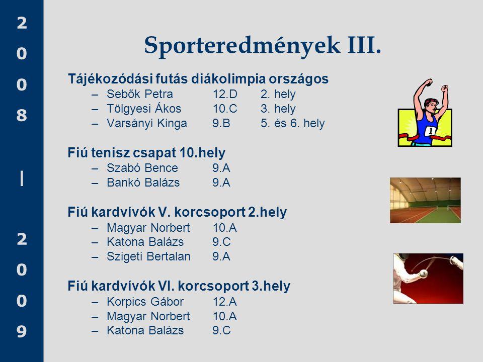 Sporteredmények III. Tájékozódási futás diákolimpia országos
