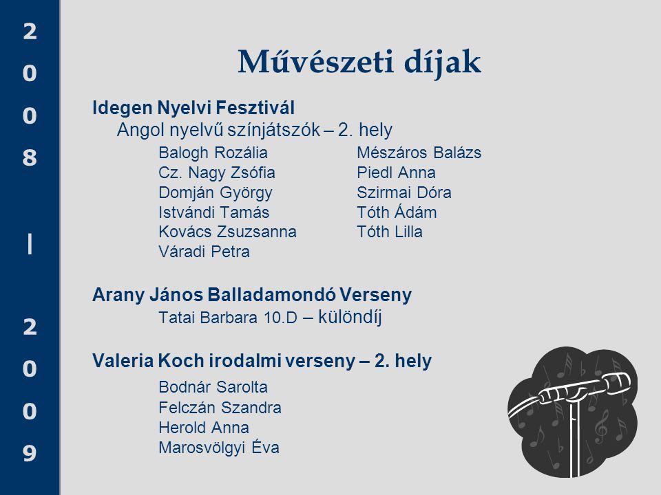 Művészeti díjak Bodnár Sarolta Idegen Nyelvi Fesztivál