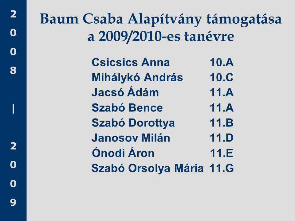 Baum Csaba Alapítvány támogatása a 2009/2010-es tanévre