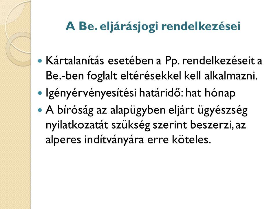 A Be. eljárásjogi rendelkezései