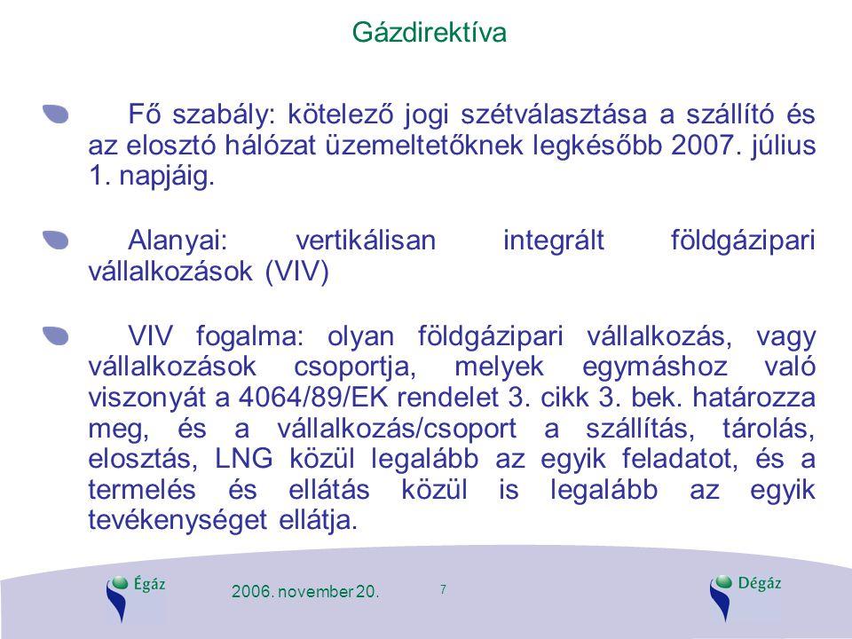 Alanyai: vertikálisan integrált földgázipari vállalkozások (VIV)