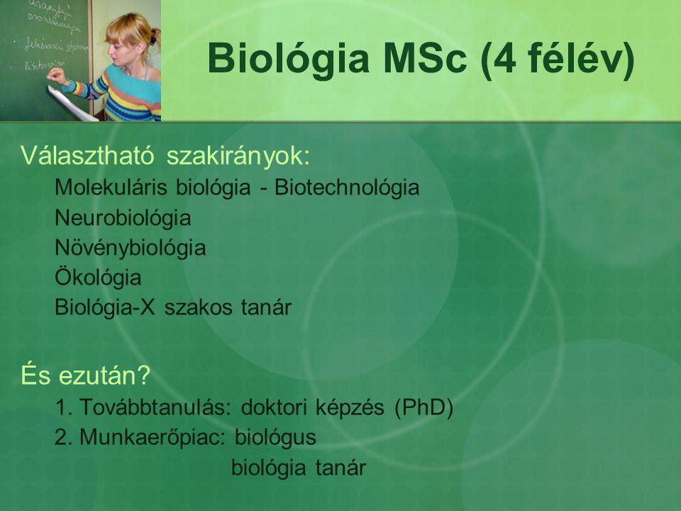 Biológia MSc (4 félév) Választható szakirányok: És ezután