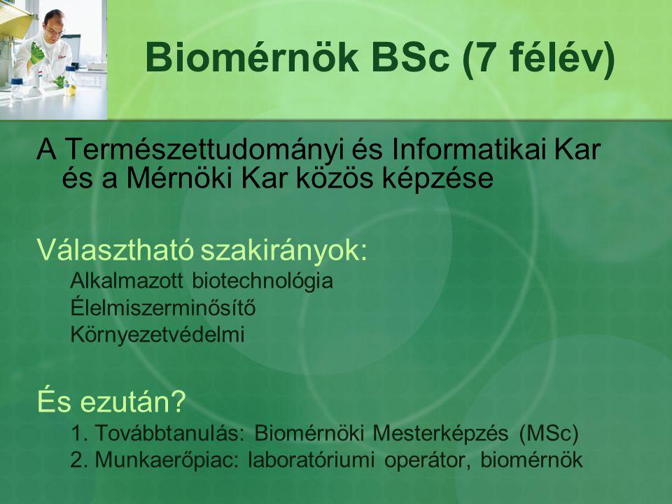 Biomérnök BSc (7 félév) A Természettudományi és Informatikai Kar és a Mérnöki Kar közös képzése. Választható szakirányok: