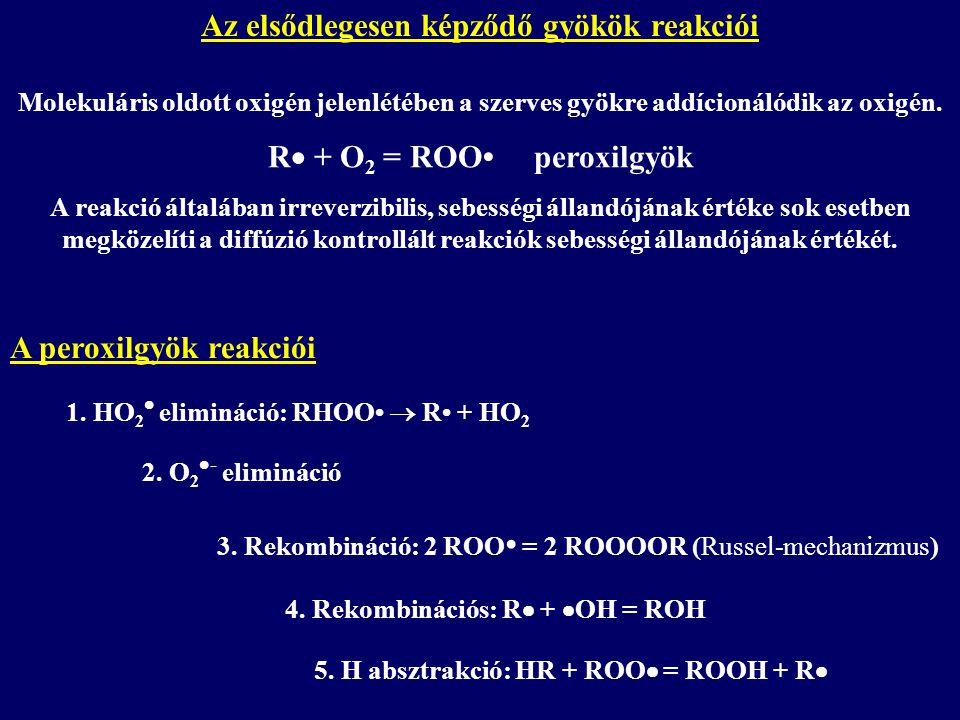 Az elsődlegesen képződő gyökök reakciói R + O2 = ROO• peroxilgyök