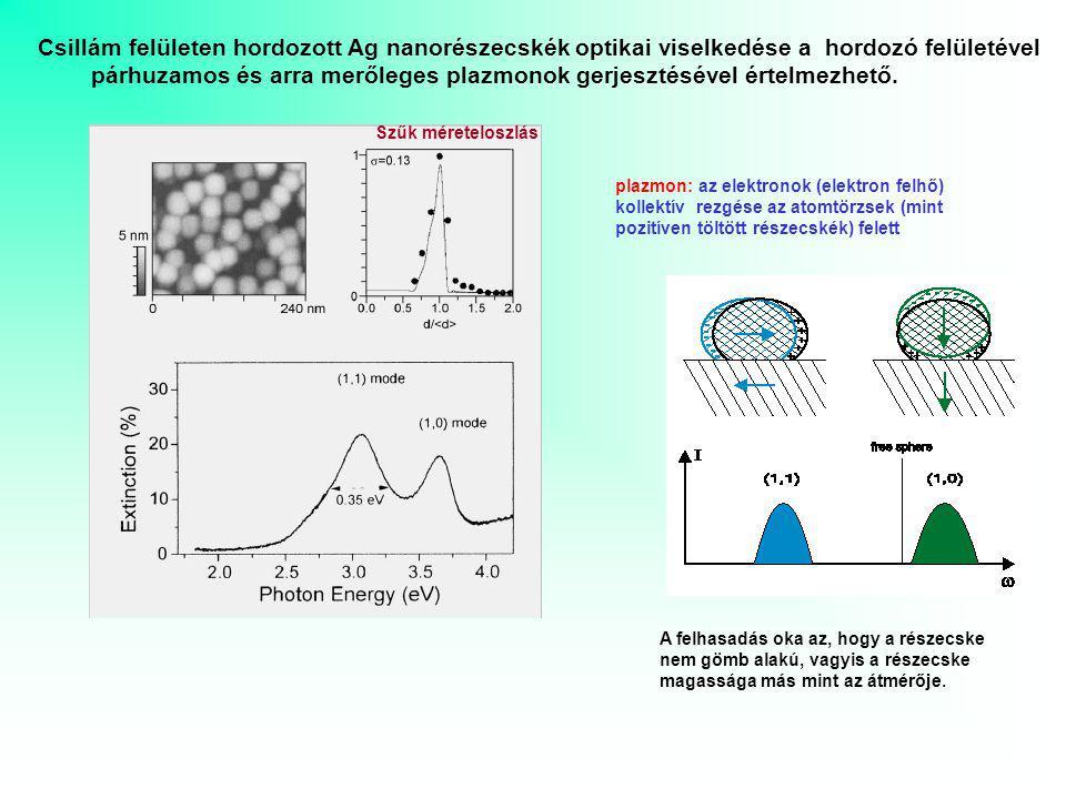 Csillám felületen hordozott Ag nanorészecskék optikai viselkedése a hordozó felületével párhuzamos és arra merőleges plazmonok gerjesztésével értelmezhető.