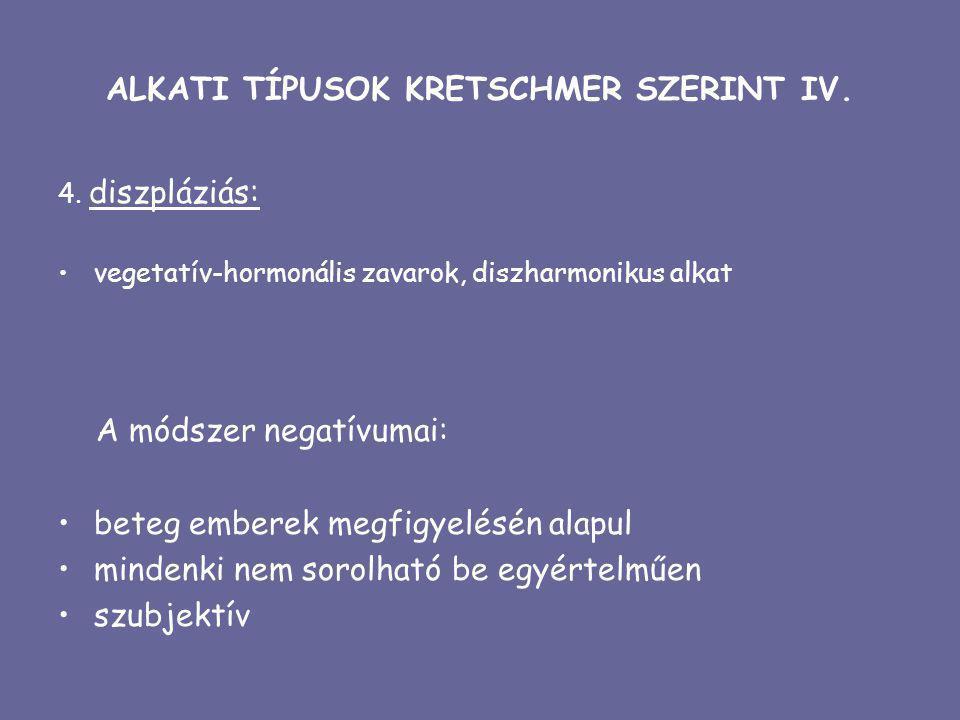 ALKATI TÍPUSOK KRETSCHMER SZERINT IV.