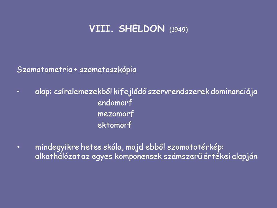 VIII. SHELDON (1949) Szomatometria + szomatoszkópia