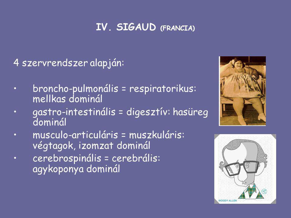 IV. SIGAUD (FRANCIA) 4 szervrendszer alapján: broncho-pulmonális = respiratorikus: mellkas dominál.