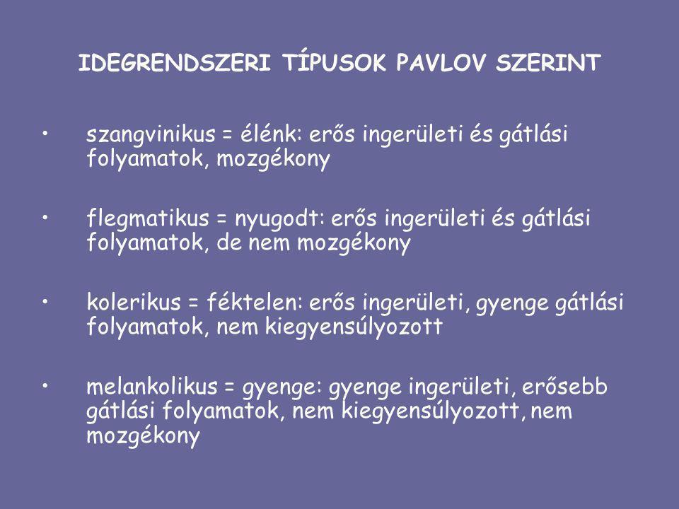 IDEGRENDSZERI TÍPUSOK PAVLOV SZERINT