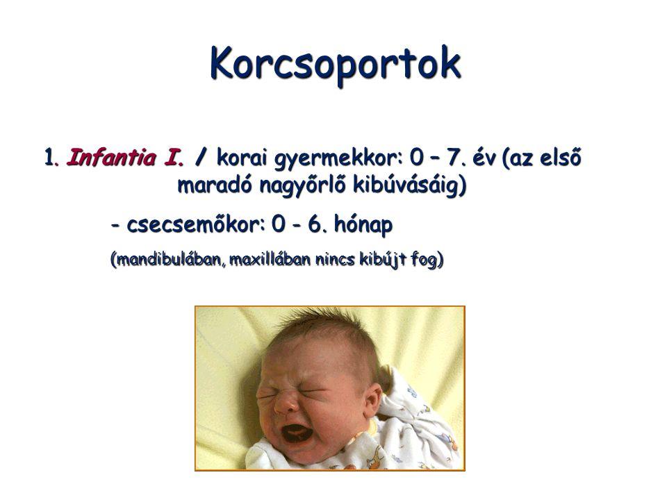 Korcsoportok 1. Infantia I. / korai gyermekkor: 0 – 7. év (az első maradó nagyőrlő kibúvásáig) - csecsemőkor: 0 - 6. hónap.