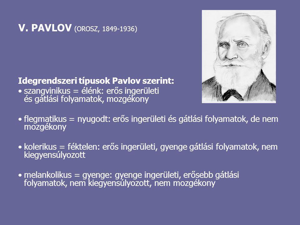 V. PAVLOV (OROSZ, 1849-1936) Idegrendszeri típusok Pavlov szerint: