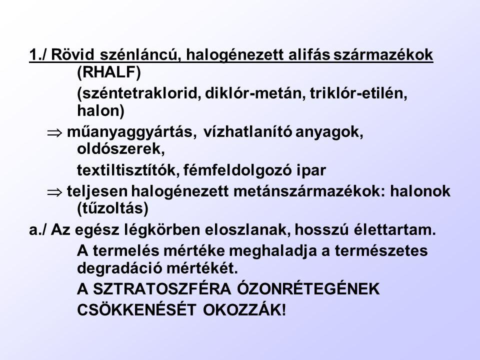 1./ Rövid szénláncú, halogénezett alifás származékok (RHALF)